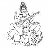 stock photo of saraswati  - Hindu Goddess Saraswati - JPG