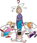 stock photo of misbehaving  - A stressed out cartoon mother surrounded by misbehaving children - JPG