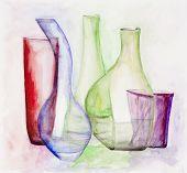 stock photo of stelles  - Gentle colored glass vases still life - JPG