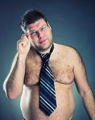 foto of pervert  - Serious shirtless man - JPG