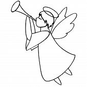 picture of angel-trumpet  - Angel plays the trumpet black and white - JPG