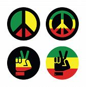 stock photo of reggae  - Rastafarian peace symbols isolated on white background - JPG