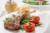 picture of red shallot  - Roast Lamb Cutlets with Warm Green Beans  with  Shallots Salad and Roast Tomatoes - JPG
