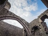 View to the sky from inside Conwy Castle, Wales