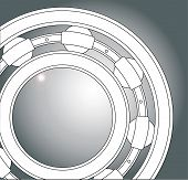 image of ball bearing  - A typical ball bearing in white over a steel background - JPG