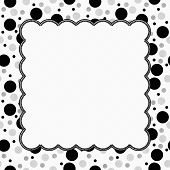 White, Gray And Black Polka Dots Frame With Embroidery Background