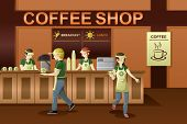 picture of clip-art staff  - A vector illustration of people working in a coffee shop - JPG