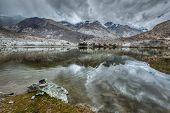 stock photo of jammu kashmir  - Sacred mountain lake Lohan Tso in Himalayas - JPG