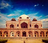 Vintage retro hipster style travel image of Humayun Tomb marble mausoleum, Delhi, India with grunge