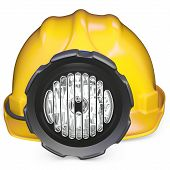 pic of collier  - 3d miner helmet with lamp and battery on white background - JPG