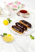 pic of eclairs  - Delicious homemade eclairs with a chocolate ganache - JPG