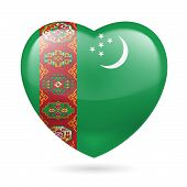pic of turkmenistan  - Heart with Turkmenian flag colors - JPG