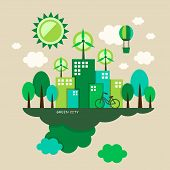 foto of environmental pollution  - flat design vector illustration concept of ecology - JPG