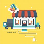 stock photo of cart  - flat design vector illustration concept of online shop - JPG