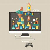 stock photo of arcade  - flat design icons concept of computer games for interface - JPG