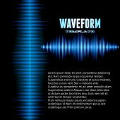 stock photo of waveform  - Blue shiny sound waveform background with sharp peaks - JPG