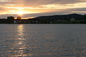 image of bohemia  - Dam in sunset mountain on horizon in Bohemia - JPG