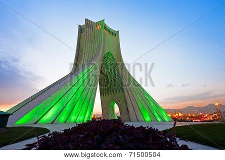 Azadi tower at sunset (green light)