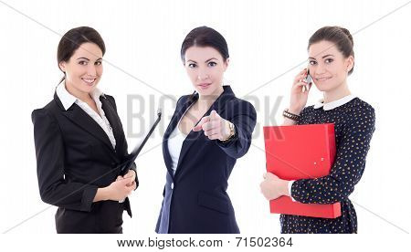 Three Young Business Women Pointing At You Isolated On White