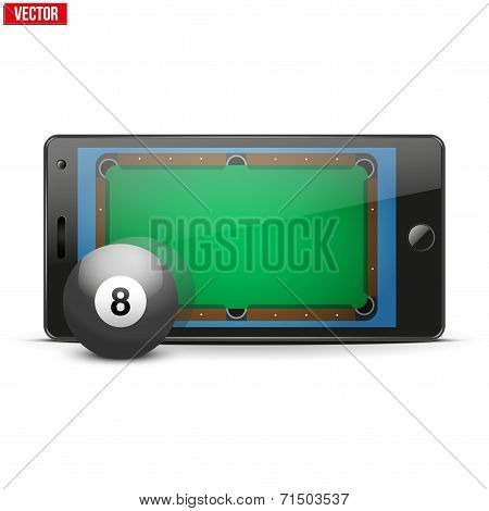 Mobile phone with billiard ball and field on the screen.