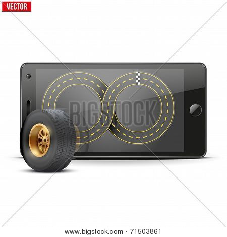 Mobile phone with racing wheel and track on the screen.