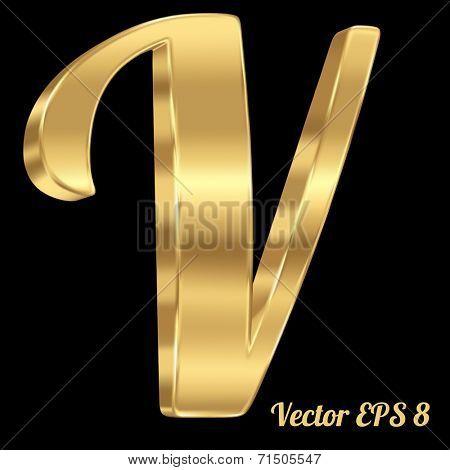 3d golden vector alphabet letter V. Vintage font, eps 8