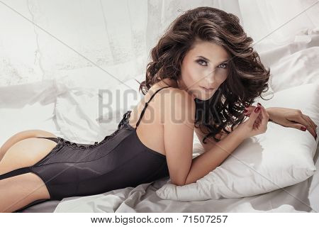 Attractive Sexy Brunette Beauty Posing