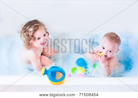 Kids Playing In Bath
