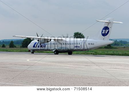 NIZHNY NOVGOROD. RUSSIA. JULY 31, 2014. STRIGINO AIRPORT. UTair company ATR-72 plane