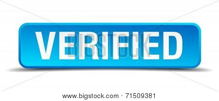 Verified Blue 3D Realistic Square Isolated Button