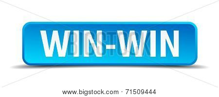 Win-win Blue 3D Realistic Square Isolated Button