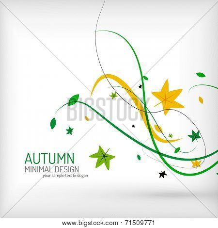 Seasonal autumn greeting card, minimal modern line design, nature environmental greeting card template or seasonal brochure layout