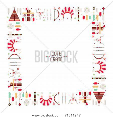 Frame of vector colorful ethnic set with dream catcher, feathers, arrows and american indian chief h