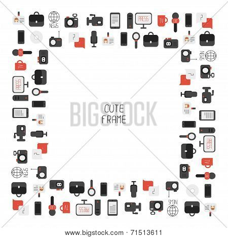 Frame of of flat colorful vector journalism icons. Mass media. Communication. Illustration consists