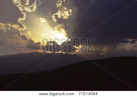 sunset in plates containing