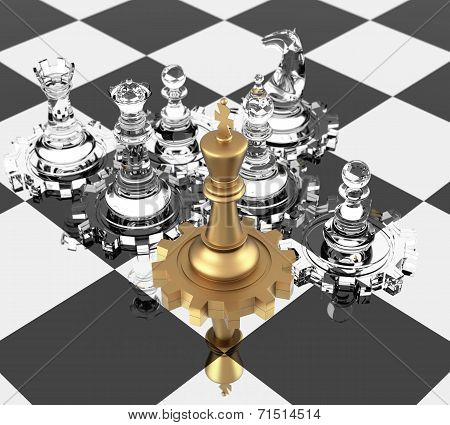 Chess King And Gears