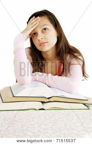 Teenage Girl Dreaming Over Books
