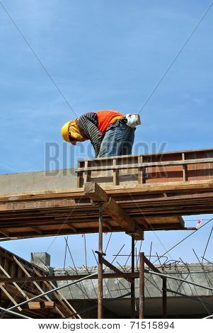 Construction Workers Installing Beam Formwork