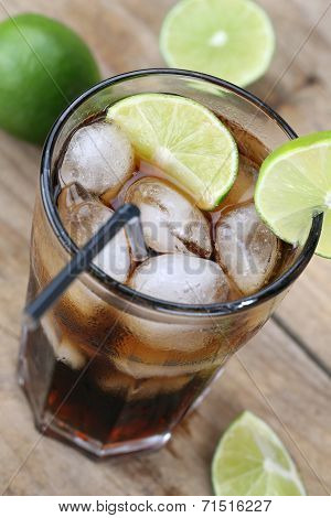 Cola Soda Drink With Ice Cubes
