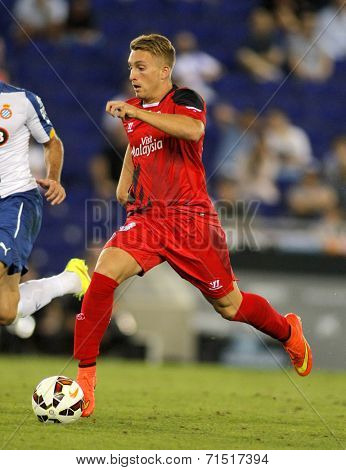 BARCELONA - AUG, 30: Gerard Deulofeu of Sevilla FC during spanish league match against Espanyol at the Estadi Cornella on August 30, 2014 in Barcelona, Spain