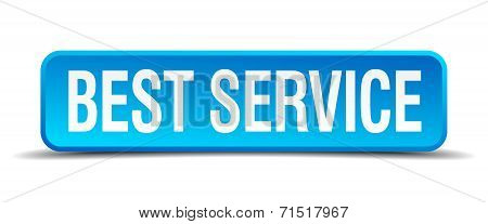 Best Service Blue 3D Realistic Square Isolated Button