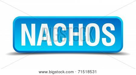 Nachos Blue 3D Realistic Square Isolated Button