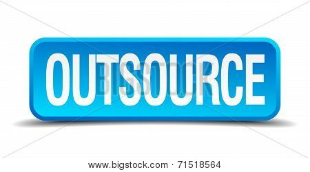 Outsource Blue 3D Realistic Square Isolated Button
