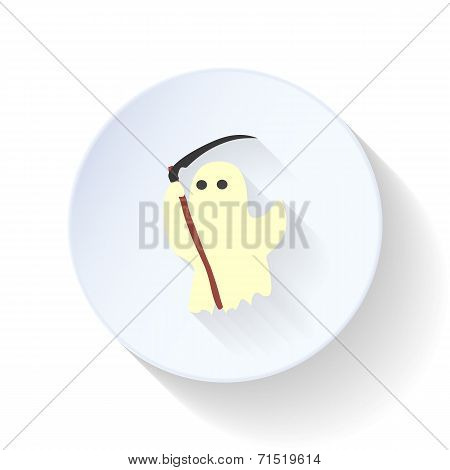 Ghost With A Scythe Flat Icon