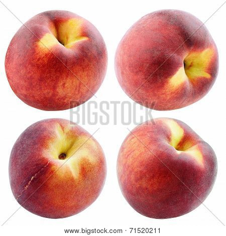 Set Of Peaches Isolated On White