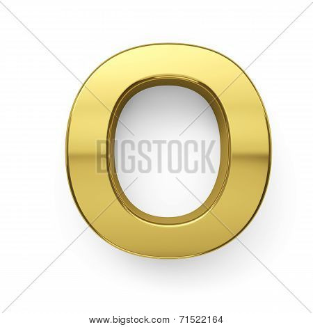3D Render Of Golden Alphabet Letter Simbol - O