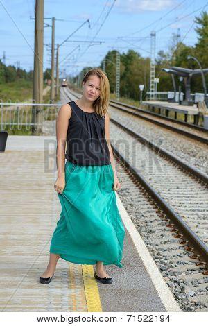Walking girl on platform
