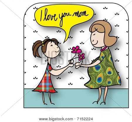 I Love You Mom Illustration