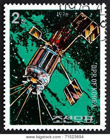 Postage Stamp North Korea 1976 Satellite, Day Of Space Flight