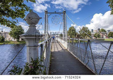 Pedestrian Suspension Bridge With People